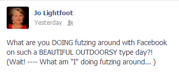 Facebook post about going outdoors