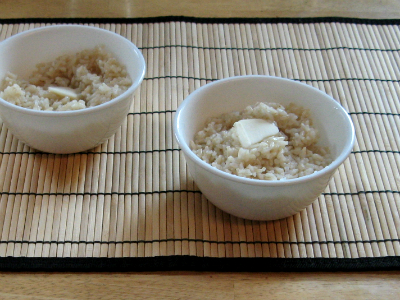 Bowls of hot buttered rice