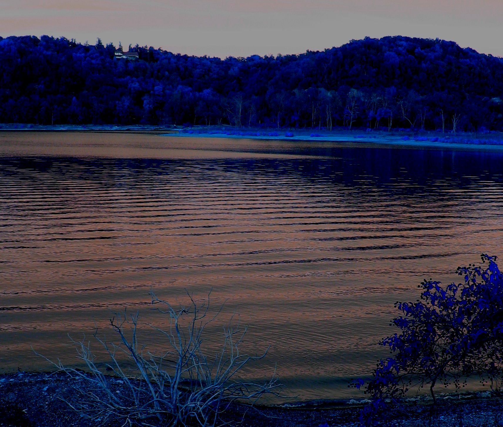 Lake scene recolored blue