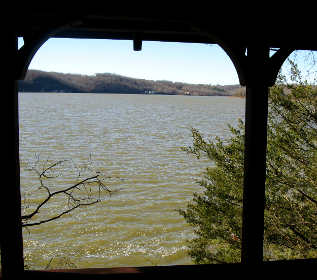 Lake view from covered walkway