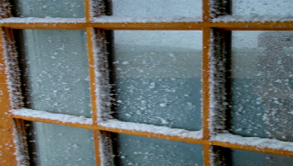 Window in winter snow