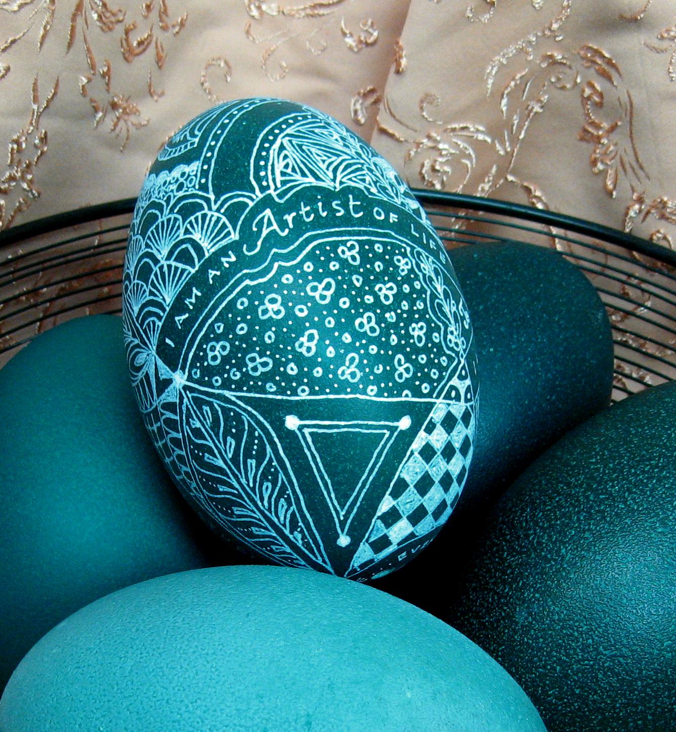 Decorated emu egg